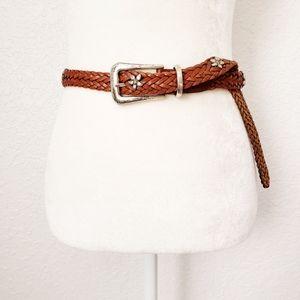 FOSSIL Vintage Brown Leather Braided Western Belt
